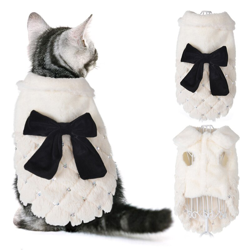 Winter Warm Clothes For Small Cats Dogs Elegant White Fur Pet Cat Coat Jacket With Bow Knot Luxury Kitten Kitty Clothing Overall