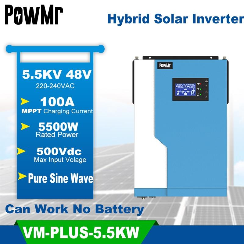 PowMr Hybrid Inverter 3.5/5.5KW Pure Sine Wave Solar Inversor Buit-in MPPT 100A Solar Controller For Max 500V Optional Wifi Modu
