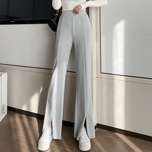 Women's Wide-Leg Front Slit High Waist Drooping 2021 New Spring and Autumn Slimming Versatile Horn C
