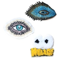 cartoon decorative patch eyes sequins icon towel embroidered applique patches for diy iron on badges on clothes stickers