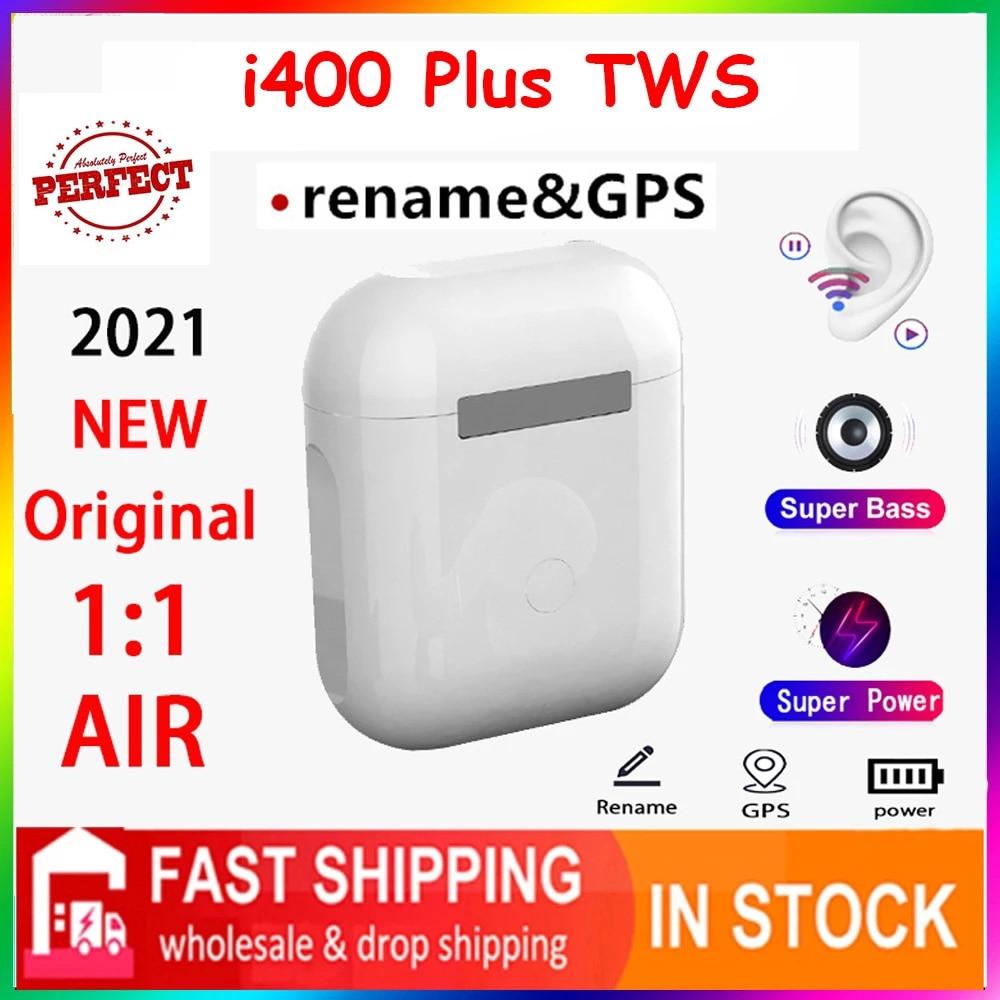 2021 Original i400 más TWS 1:1 GPS nombre auriculares Bluetooth inalámbricos PK...