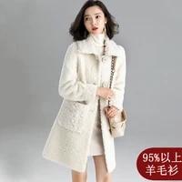 real fur overcoats winter jackets women s long waterproof lamb sheep shearing fur casual thick warm 2019 white free ship