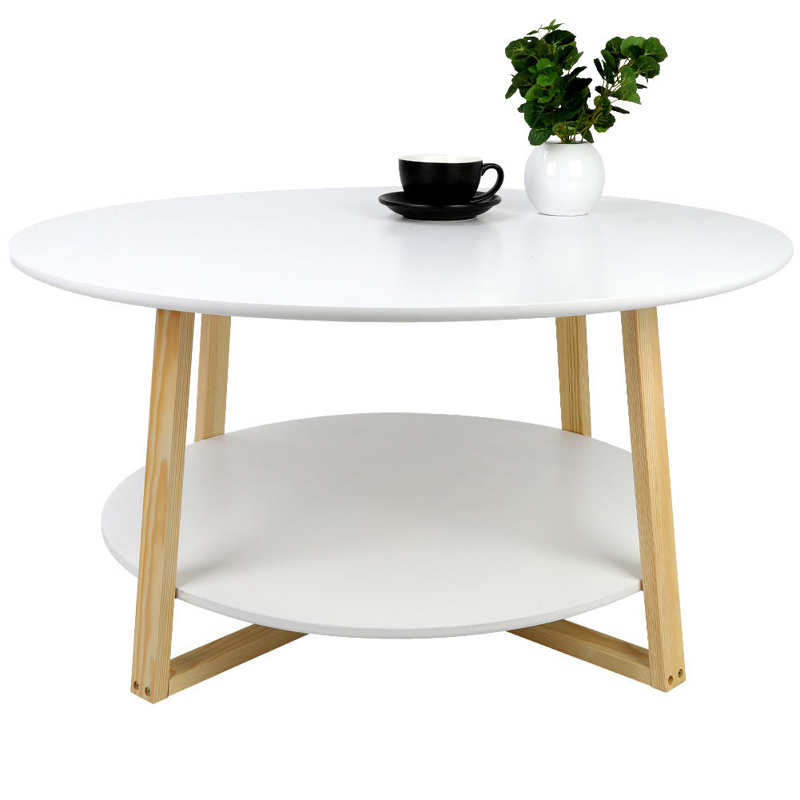2 camadas redonda mesa de centro para casa sala de estar sofá moderno simples mesa de chá mesa final