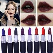 8 couleurs étanche mat rouge à lèvres Tubes longue durée Sexy rouge à lèvres Pigments violet bleu noir rouge à lèvres beauté lèvre maquillage