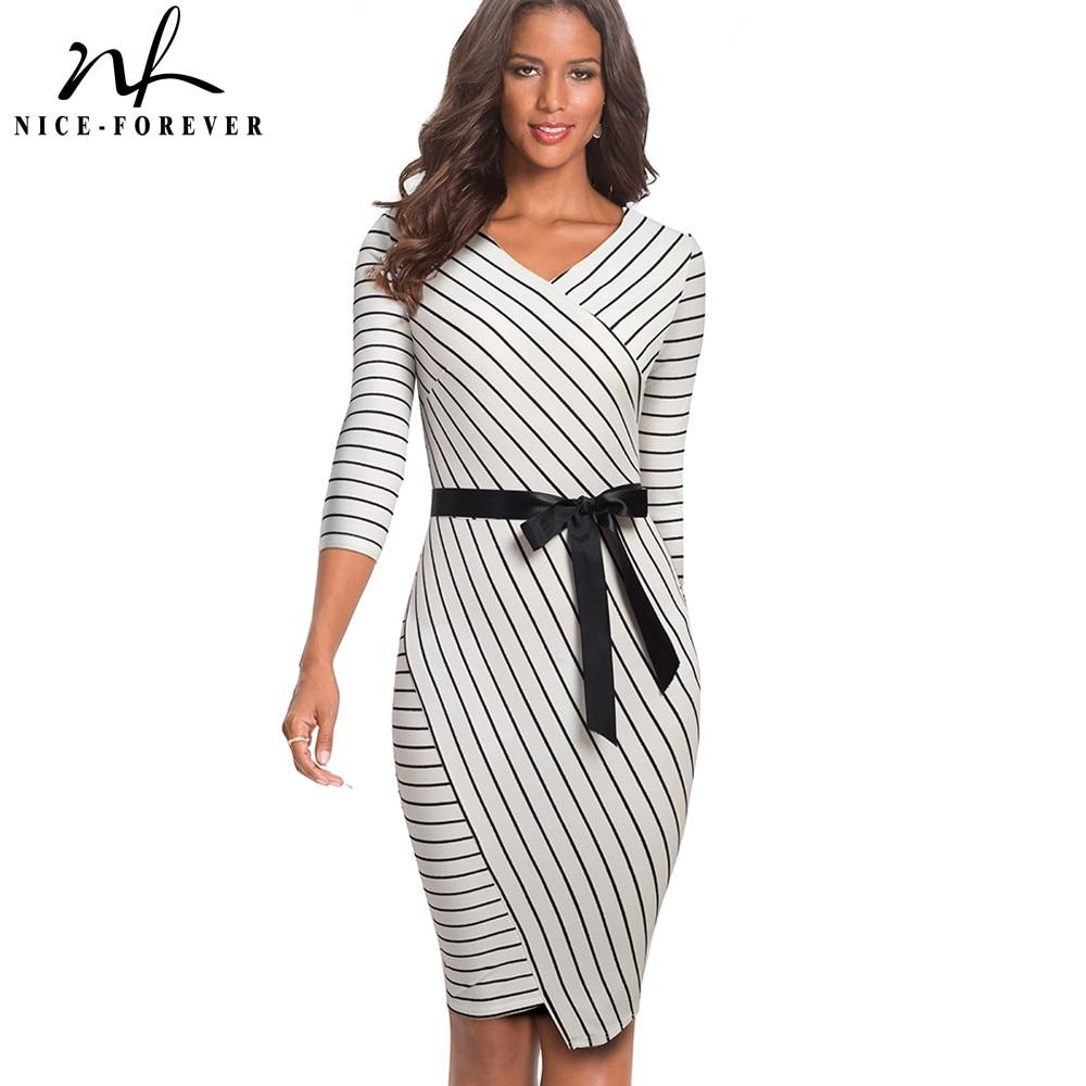 Nice-forever Elegant V-neck Stripes Office vestidos Business Party Bodycon Autumn Women Dress B548