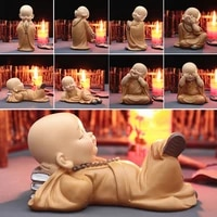 buddhist small monk statues resin buddha figurine sculpture handmade car home decorator miniatures room decoration crafts gifts