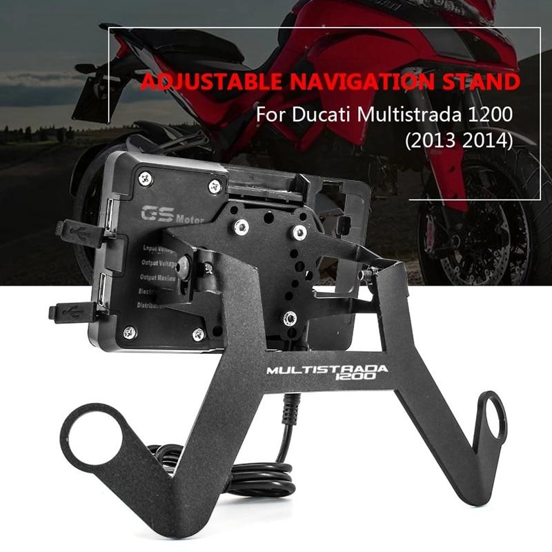 ل DUCATI MULTISTRADA 1200 2013-2014 حامل حامل الهاتف دراجة نارية هاتف به خاصية التتبع عن طريق الـ GPS المحمول لوحة قوس