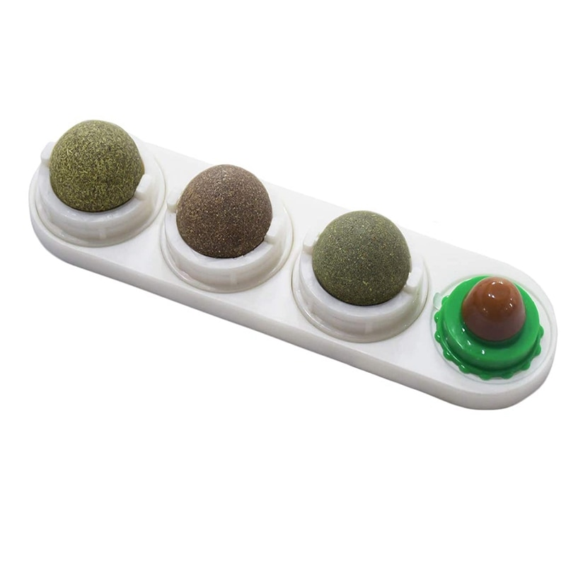 Juguete de hierba gatera para gatos, bolas comestibles de hierba gatera, juguetes giratorios naturales para gatos, gatitos y gatitos