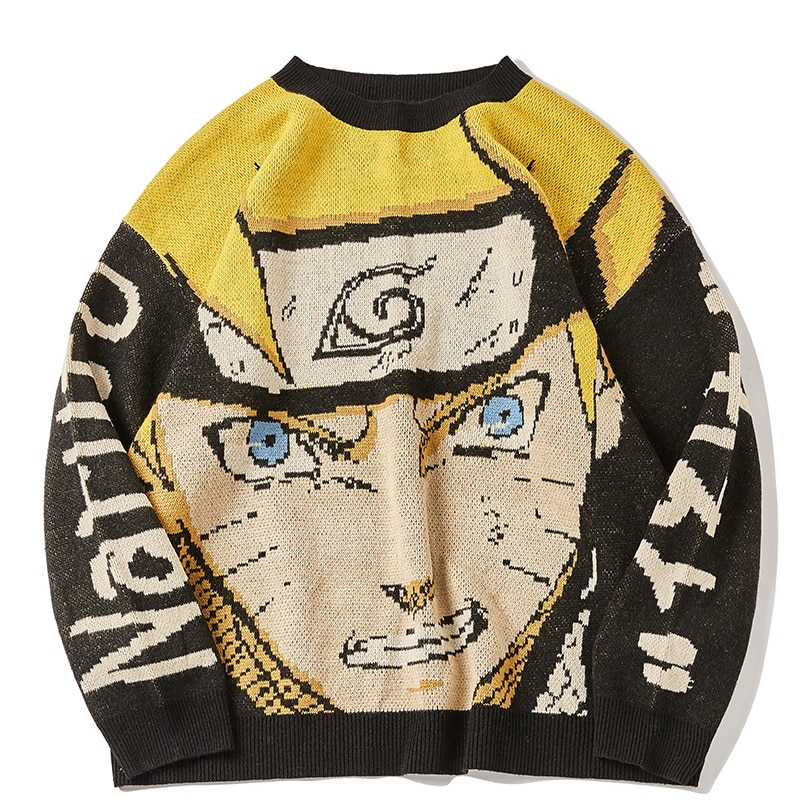 Anime Sweater Men Oversize Pullover Hip Hop Streetwe2021 Autumn New O-neck Mens Clothes Man Sweaters Women