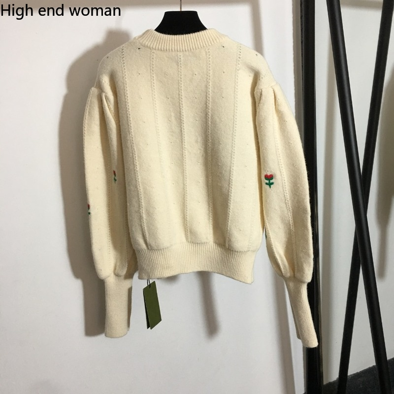 2021 high end small safflower Embroidery Flower Lantern long sleeve Pullover Sweater fashion personality versatile sweater enlarge
