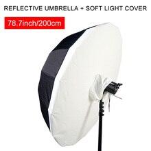 """78,7 """"200 см глубокий рот Светоотражающие рассеиватель зонт черный, серебристый цвет отражение фотографии параболический зонтик с мягкой светильник крышка"""