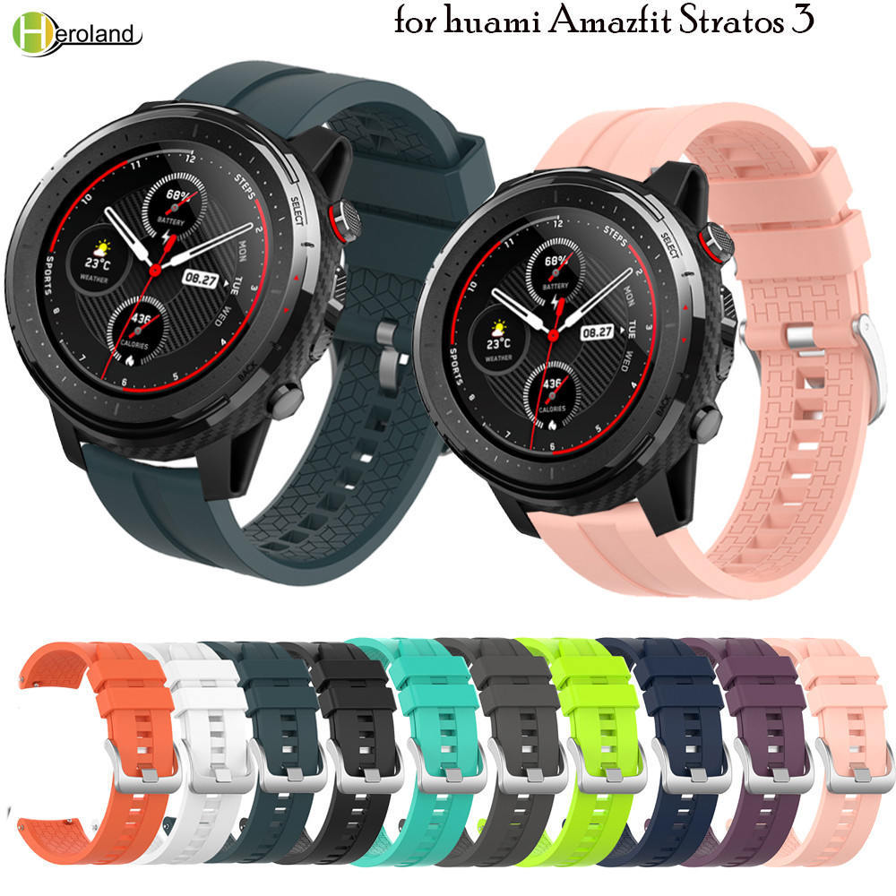 Correa de muñeca de silicona de 22MM de ancho para huami Amazfit Stratos 3 / Stratos 2 2S Pace /Amazfit GTR 47mm correa de pulsera smartwatch