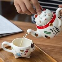 cute japanese lucky cat porcelain tea set creative maneki neko ceramic tea cup pot with strainer lovely plutus cat teapot mug