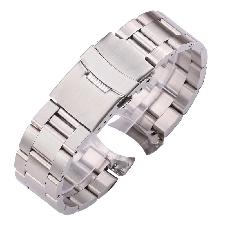 20mm 22mm Stainless Steel Watch Bracelet Silver Black Curved End Watchbands Women Men Metal Watch Strap stainless steel watchband bracelet 20mm 22mm men metal brushed curved end watch band strap clocks accessories