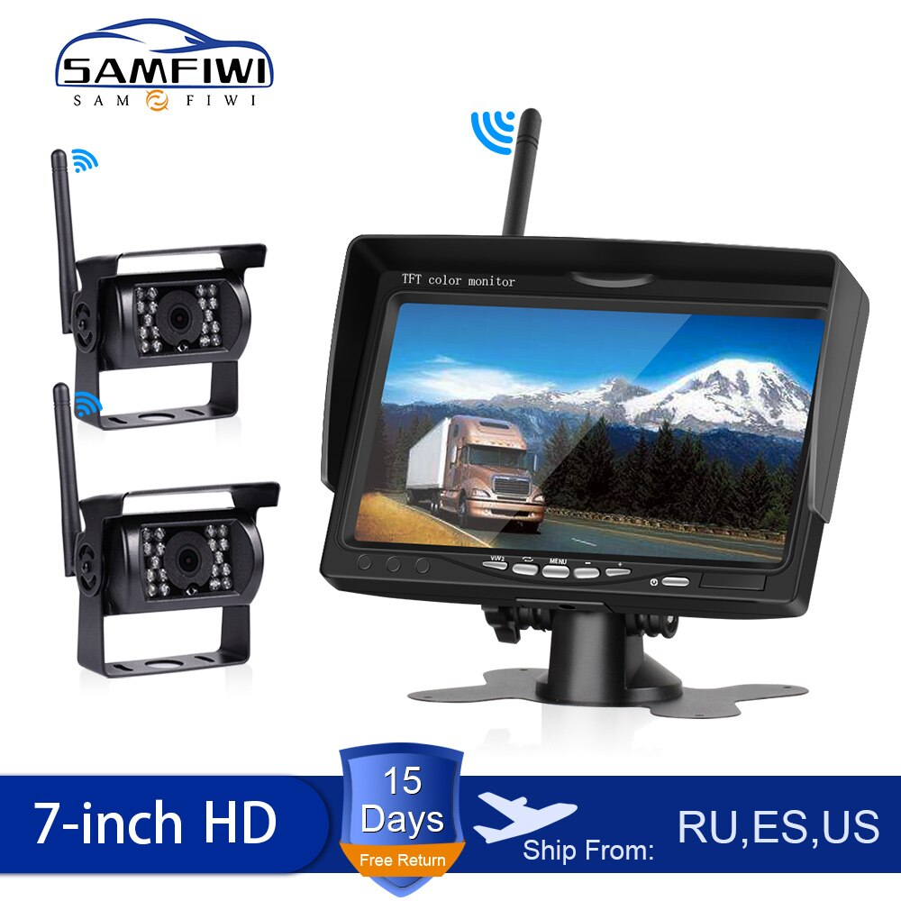 HD Wireless Car Monitor Truck Screen Display 7 Inch CMOS IR Night Vision Reverse Backup Wifi Camera Parking System