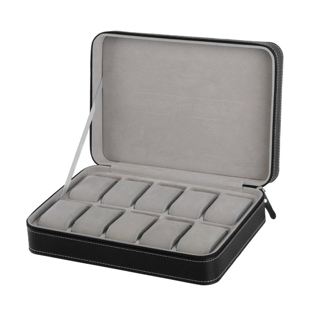 2/6/10/12 Girds جلد/ألياف الكربون صندوق ساعة يد فاخر مجوهرات صندوق تخزين ساعة منظم ل خواتم حامل عرض للأساور حامل
