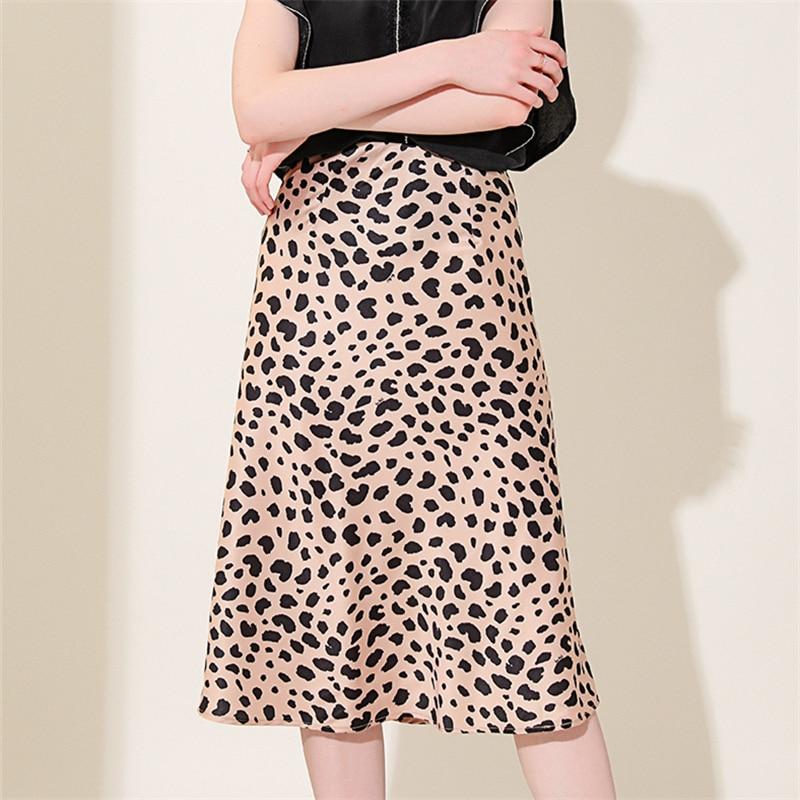 Skirts Womens 2019 Fashion High Waisted Skirt Boho Stain Midi A Line Cheetah Print Skirt Streetwear Vintage Animal Print Skirts