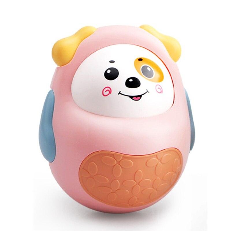 T5EC мультфильм активное лицо щенок колокольчик погремушка неваляшка игрушка, Успокаивающая портативная кукла неваляшка для 0-3/6-12 фотодетск...