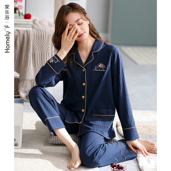 Jialefen 2021 New Pajamas Women's Spring and Autumn Fall Pure Cotton Long Sleeve Homewear Full Cotton Thin Section Suit