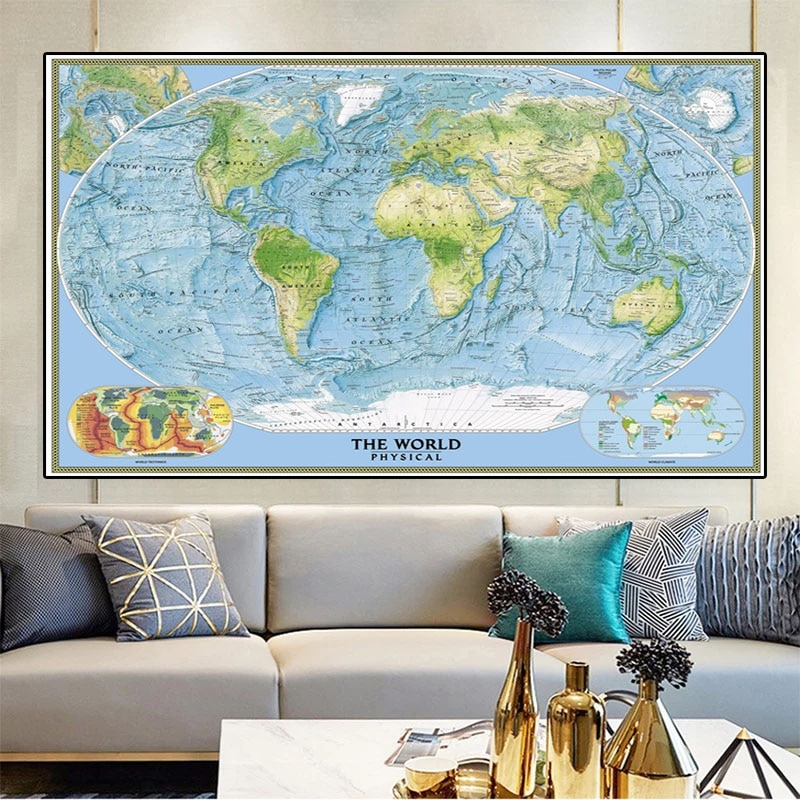 225*150cm 2005 The World Physical Map Retro Non-woven Canvas Painting Large Size Wall Art Poster Living Room Home Decoration