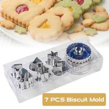 7Pcs Cookie Cutters Set 6 Patterns Stainless Steel Baking Biscuit Mold Multifunctional And Durable Kitchen Bar Supplies