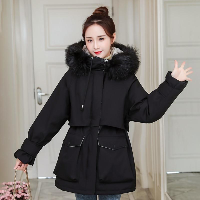 Ladies Long Thicken Hooded Parka Women Slim With Big Fur Collar Outerwear Winter Jacket Warm Women O