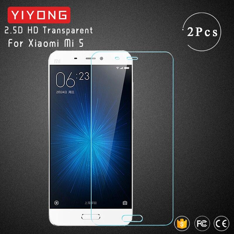 Cristal de pantalla YIYONG 2.5D para Xiaomi Mi 5 Mi5, cristal templado Xiomi Mi A1 5X Mi5X, Protector de pantalla para Xiaomi Mi 5S 5 Mi5 S