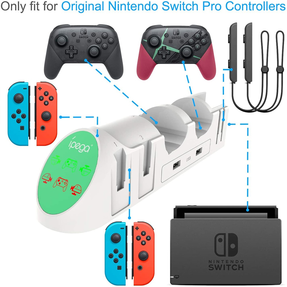 6 in 1 Charging Dock Stand High-speed Rail Design Joypads Display Charger With USB 2.0 Socket for Nintendo Switch Game Accessory