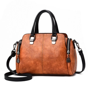 High Quality Vintage Boston Leather Luxury Handbags Women Bags Designer Ladies Casual Tote Bag Shoulder Crossbody Bags For Women