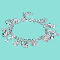 silver bracelets for women 925 sterling silver jewelry wristband multi charms bracelet wedding party gift