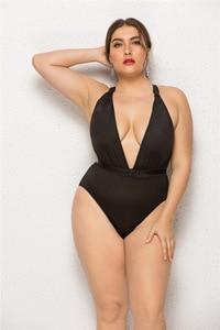 Woman's Plus Size One-piece Swimsuit Sexy Deep V-neck Solid Color Sleeveless Halter Elastic Slim Bikini