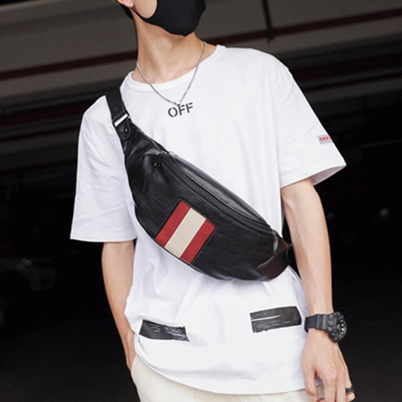 Male Fanny Pack  Man Belt Pouch Street Hip Bag High Capacity Banana Bag Leather Young Kidney Money Belt Shoulder Package