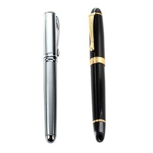 Jinhao 1Pcs Fountain Pen 450 Black with Gold Broad Nib & 1Pcs X750 Classic Silver Ct Fountain Pen , Smooth Writing Pen