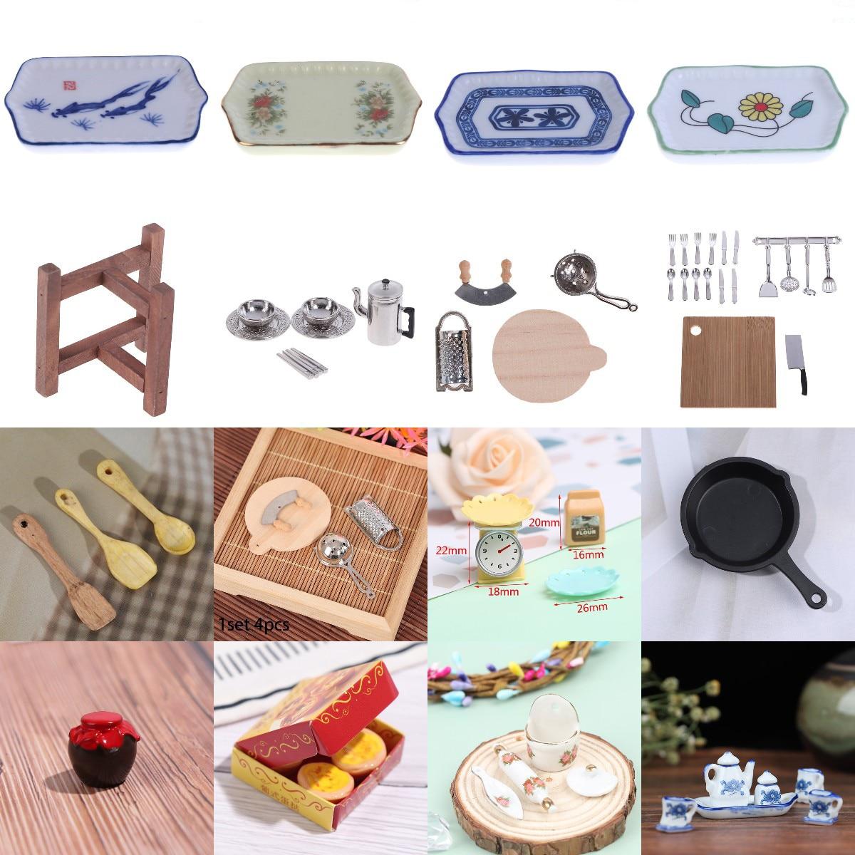 Multi 1/12 Dollhouse Miniature Simulation Mini Dishes Plate Tray Spoon Tableware Pretend Play Doll Kitchen Food Accessories