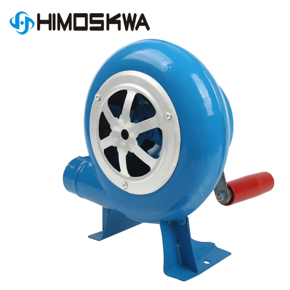 80w de metal industrial ao ar livre churrasqueira engrenagem ferro manivela ventilador mão ventilador ventilador ventilador de fogo manual pipoca ventilador azul modelo