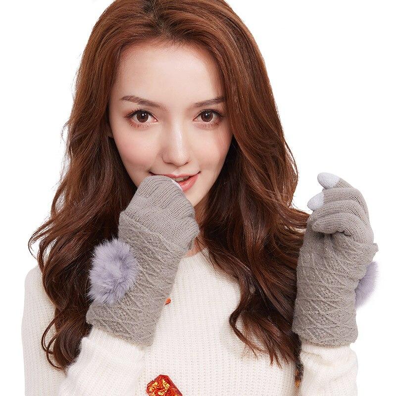 Женские зимние перчатки, вязаные перчатки с закрытыми пальцами, съемные перчатки с открытыми пальцами, вязаные перчатки для сенсорного экр...