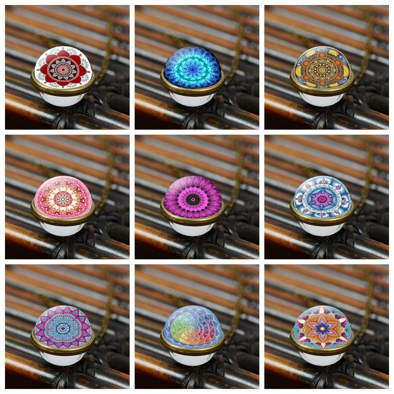 Songda 1pc tibet mandala vintage colar pingente de vidro esférico gargantilha colares moda índia jóias presente para a mãe
