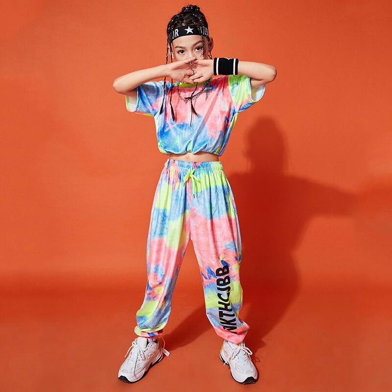 موضة متعدد الألوان ملابس رقص الجاز للفتيات التعادل صبغ الملابس المحاصيل القمم السراويل الهيب هوب ملابس الاطفال المرحلة الشارع ارتداء 120-170