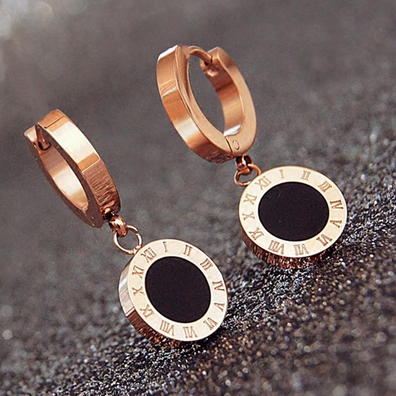 Doce constelaciones, pendientes de diseño para mujer, color rosa dorado, Blanco, Negro, superficie Circular, letra romana, pendientes de baile KE006