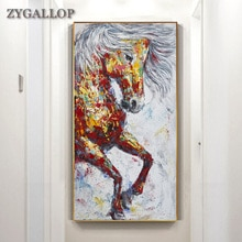 Большой бег Лошадь Картина маслом Красочные животные плакат холст принт животное картина рисунок на стену для гостиной Декор без рамки