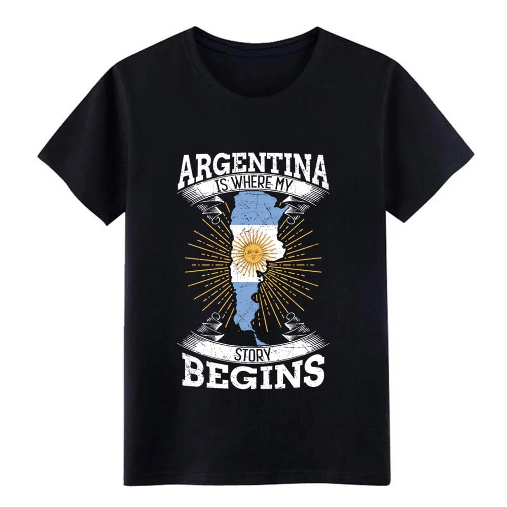 Camiseta básica de algodón con cuello redondo para hombre con motivos de historia de argentina