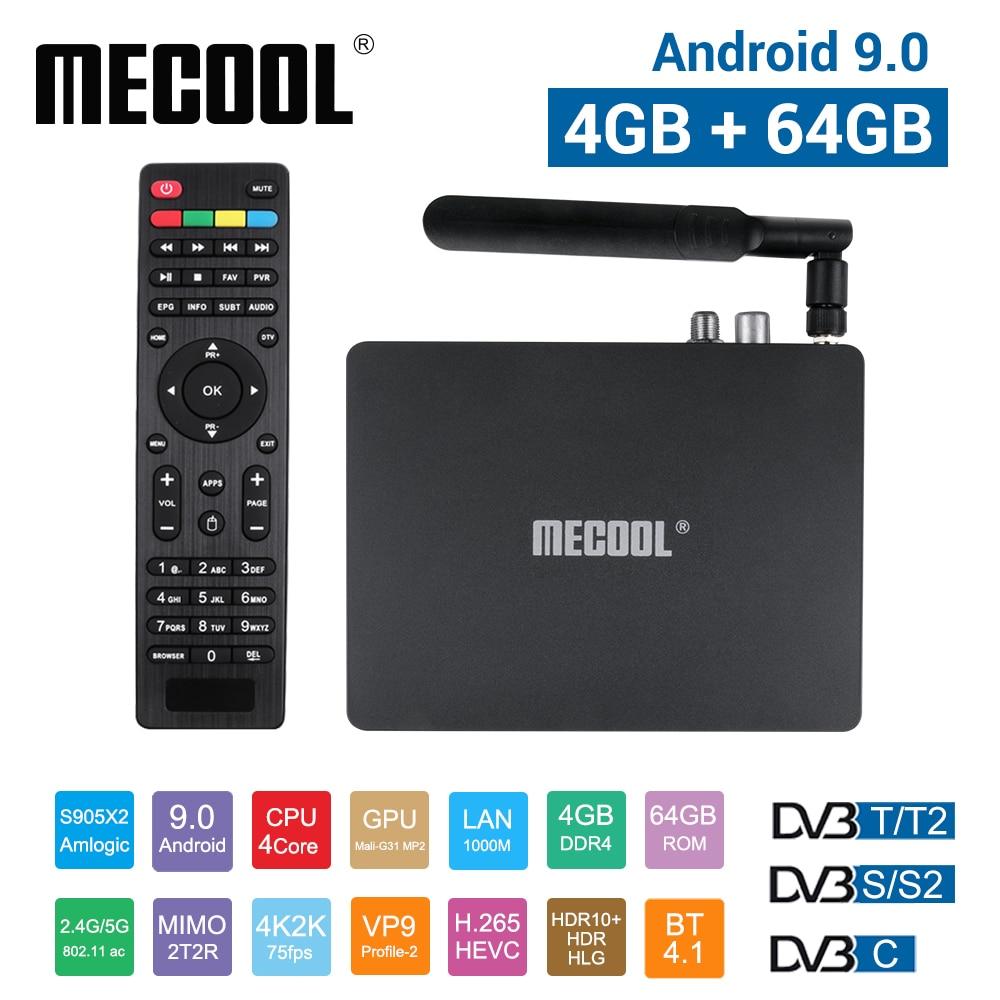 Mecool-dispositivo de TV inteligente K7, con Android 9,0, DVB-T2/S2/C, 4 GB de RAM, 64 GB de ROM, Amlogic S905X2, Bluetooth 4,1, wi-fi 2,4/5 GHz, USB 3,0, 1000M
