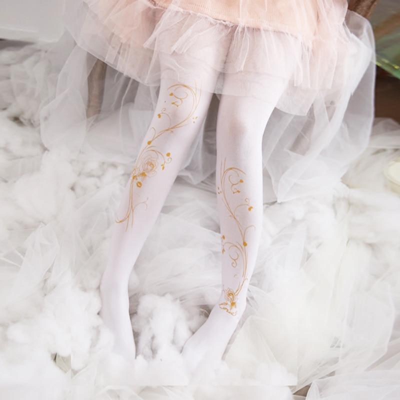 Japonés Lolita chicas medias dorado rosa patrón Legging chica kawaii blanco negro cálido apretado pantimedias seda Floral medias
