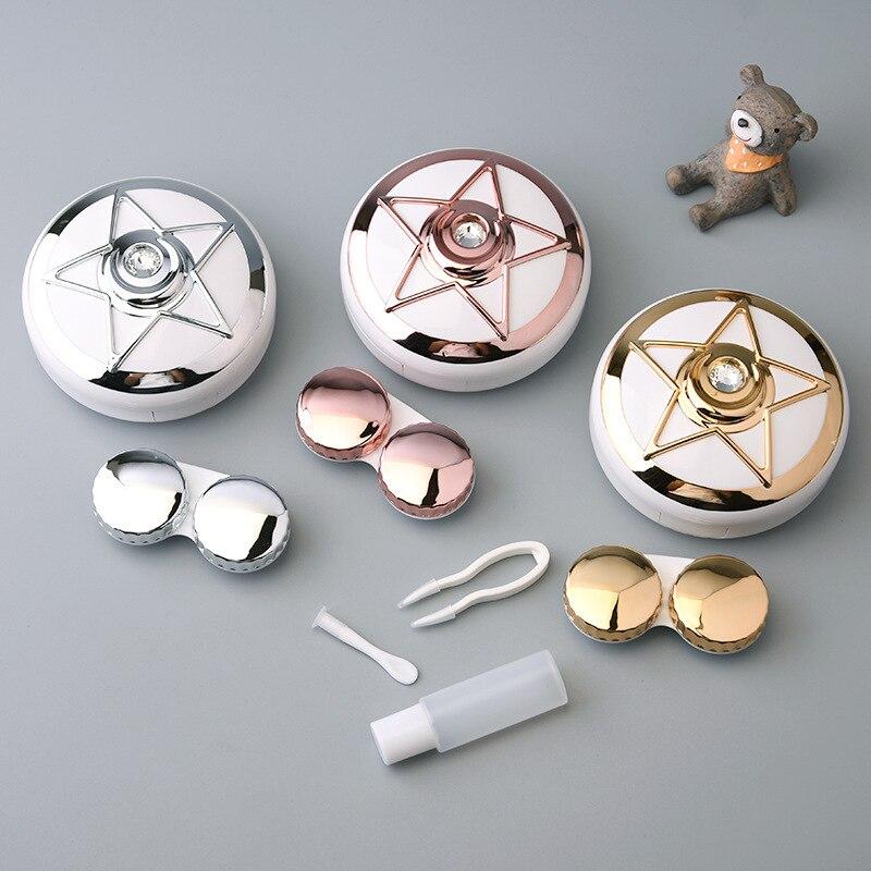 Marinheiro lua estrela mini lentes de contato caso com espelho titular recipiente portátil carry-on presente de plástico para menina mulher senhora