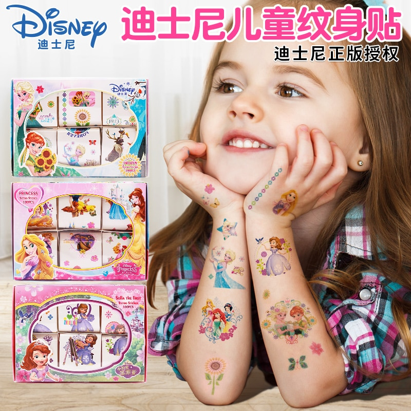 Disney congelado 2 Elsa Anna Princesa Sofía chicas maquillaje tatuaje pegatinas juguetes Pony impermeable estilo temporal pegatina de maquillaje