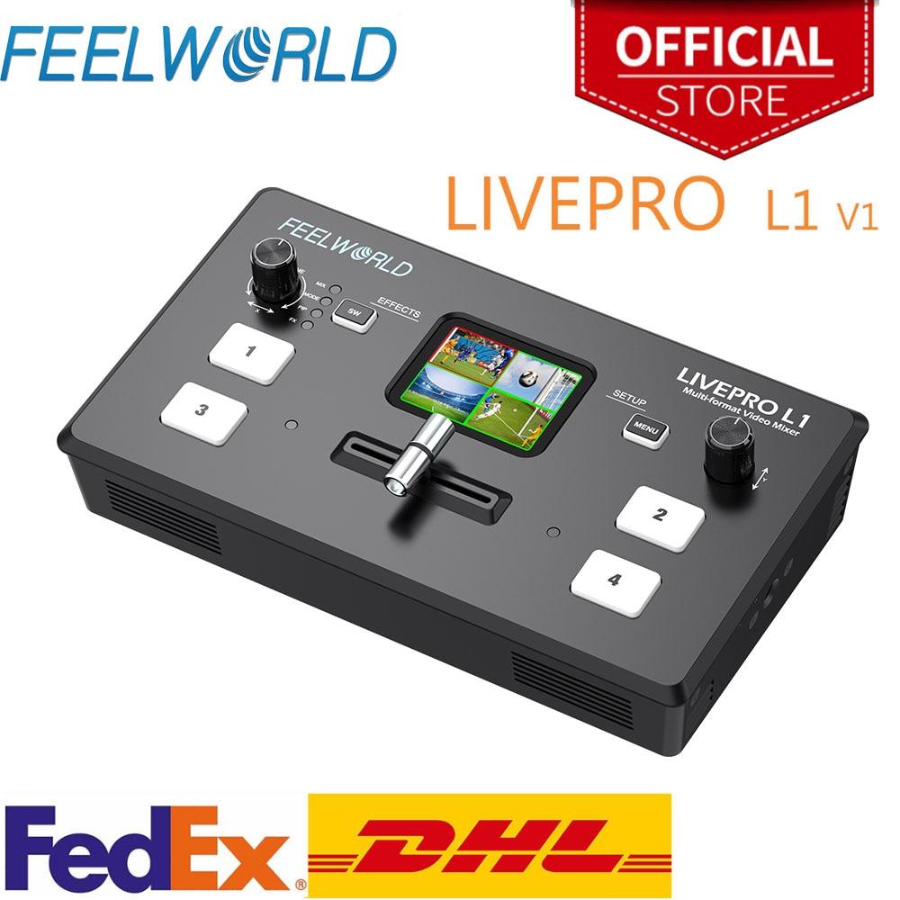 Feel world متعدد تنسيق الفيديو خلاط الجلاد USB3.0 4xHDMI المدخلات إنتاج الكاميرا يوتيوب البث المباشر LIVEPRO L1 V1