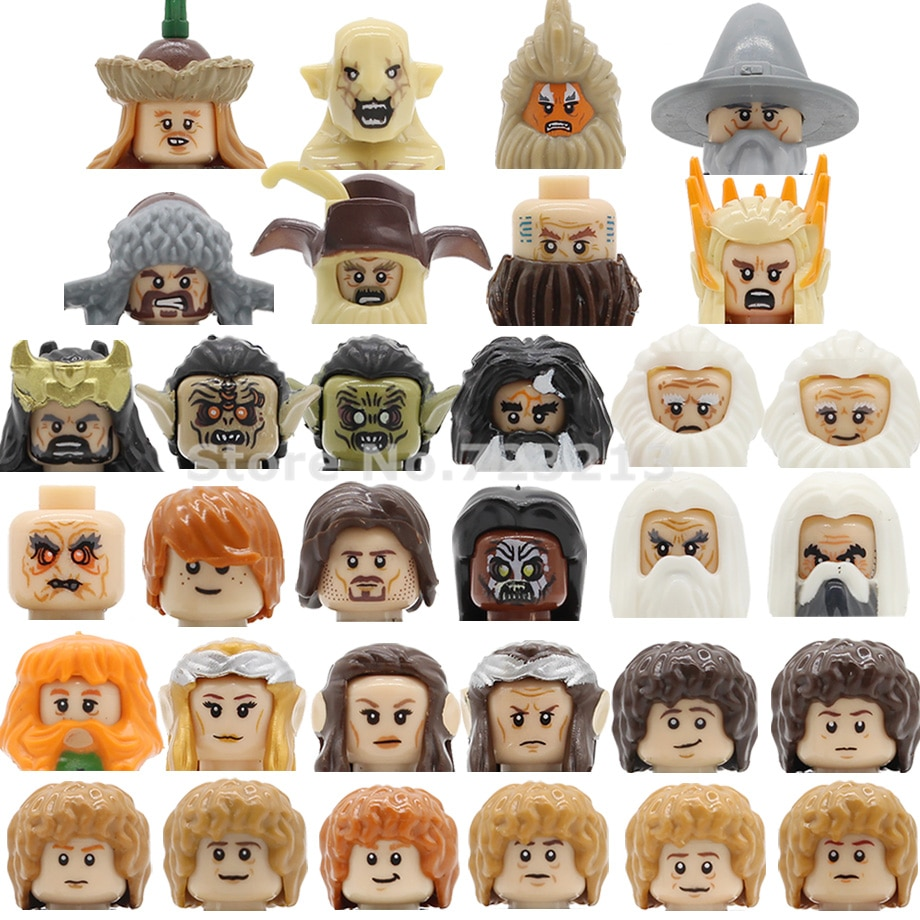 Anel de filme única venda lords dwalin figura cabeça bifur bain balin thorin gandalf baggins blocos de construção modelos tijolos kits brinquedos