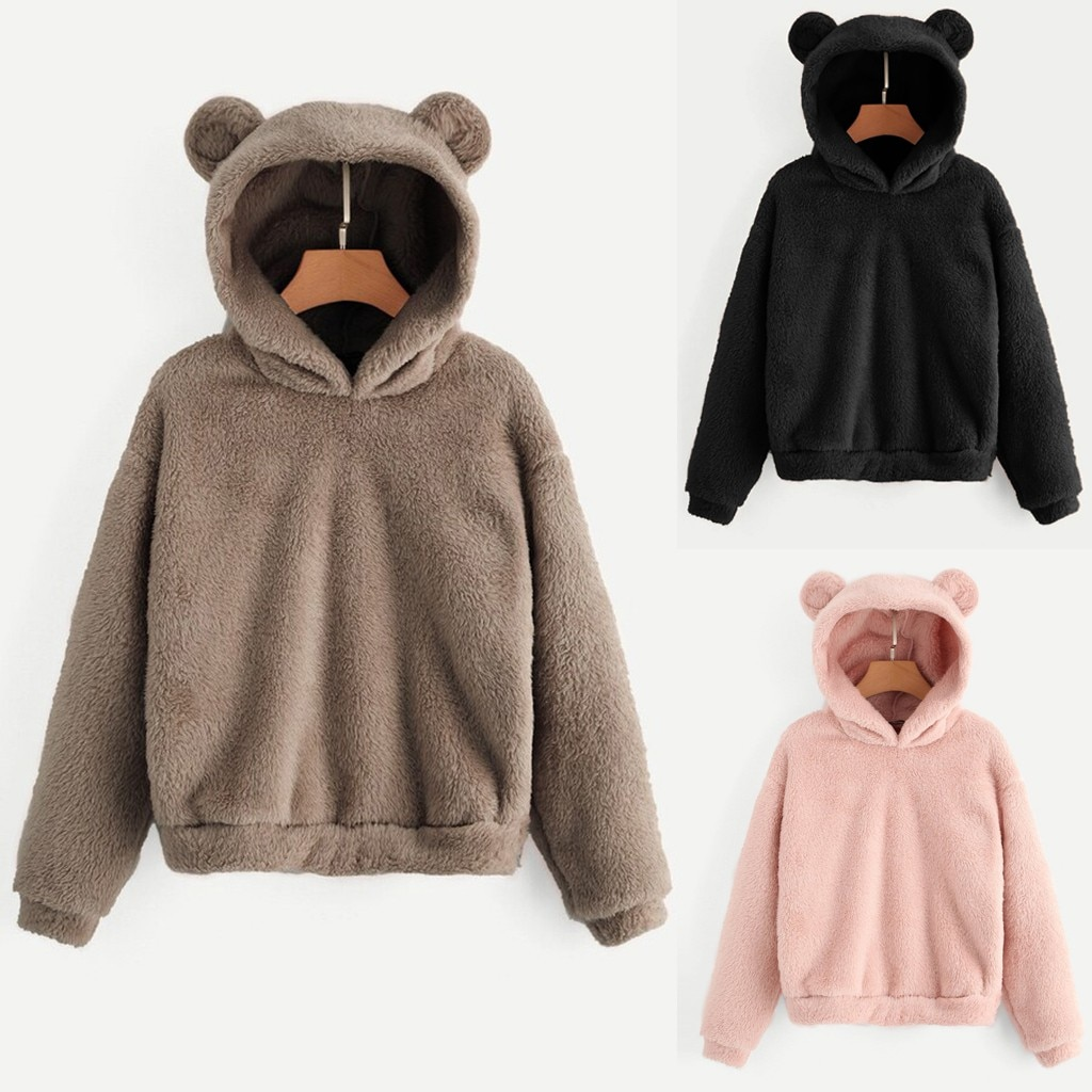 Frauen Langarm Fleece Sweatshirt Warm Bär Form Fuzzy sweatshirt frauen Pullover sudadera mujer bluza damska bluzy damskie
