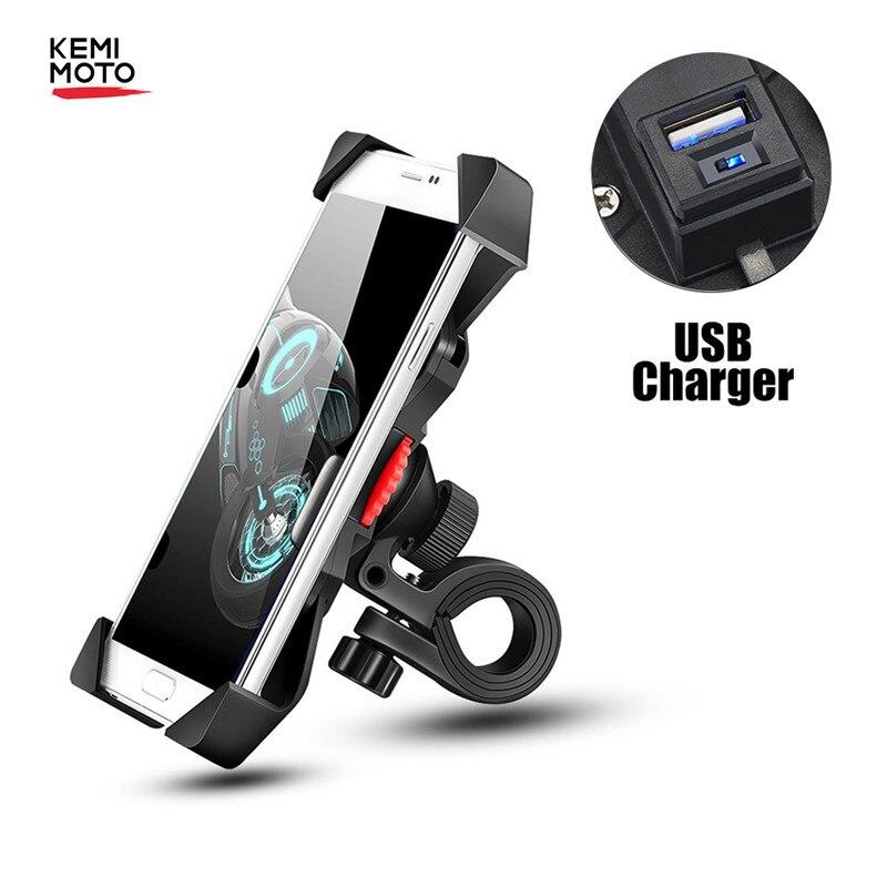 Soporte de teléfono para motocicleta con puerto de carga USB Universal para Yamaha MT07 07 para HONDA AFRICA TWIN para KTM KLR650 R1200GS