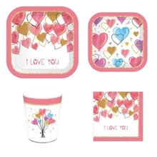Valentine's Day Disposable Tableware  Paper Plate Cups Holiday Party Banner Wedding Party Decoration